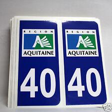 10 STICKERS AUTOCOLLANT PLAQUE D IMMATRICULATION des Landes (40)