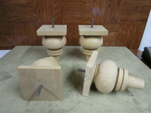 """Set of 4 unfinished Solid Wood Bun/Furniture Feet 6"""" Tall"""