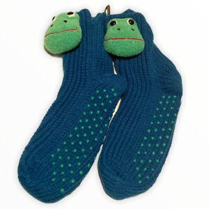Frog Slipper Socks Chunky Cable Knit Non Slip Novelty Women New Blue Green Fun