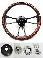 "60-69 Chevy Truck Steering Wheel Mahogany Wood with Black Spokes 14"" Bowtie Cap"