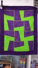 Purple and Lime Green Pieced Baby Quilt One of a kind