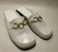New Enzo Angiolini Expansive Womens 7M White Leather Slip on Low Wedge Mules