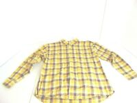 Tommy Hilfiger Men's Size XL Yellow Cotton Plaid Long Sleeve Button Down Shirt