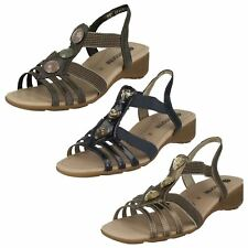 Ladies Brown / Blue Leather Wedge Open Toe Remonte Summer Sandals R5258