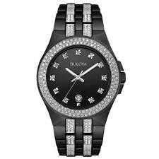 New Bulova 98B251 Black Ion Stainless Steel Swarovski Crystal Date Men's Watch