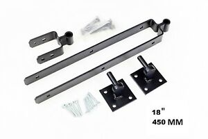 "18"" BLACKED DOUBLE STRAP FIELD FARM GATE HINGE SETS with HOOKS ON PLATES"