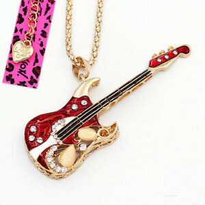 Women's Red Enamel Crystal Guitar Music Pendant Chain Betsey Johnson Necklace