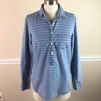 J Crew Womens Top Striped Chambray Popover Long Sleeve Cotton Size 2 02267