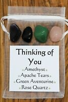 Thinking of You Crystal Gift Set Apache Tears Rose Quartz Amethyst Aventurine