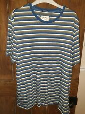 Fat Face Mens Striped T Shirt XL Blue Yellow Crew Neck