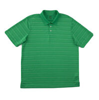 Champion Polo Shirt Men's Large Short Sleeve Green Stripe Golf Button Up