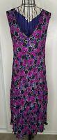 Stunning Ladies EAST Purple Black Floral Crinkle V Neck Sleeveless Dress Size 16