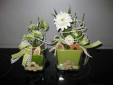 Tischdeko Floristik Tischgesteck Glas creme grün Geschenk 2er - Set Würfel