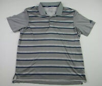 Adidas Climacool Golf Polo Men's Size Large Gray Striped Casual Short Sleeve