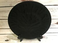 "LALIQUE FRANCE SIGNED ALGUES NOIR EMBOSSED TREE OF LIFE BLACK CRYSTAL 11"" PLATE"