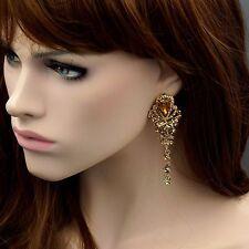 18k Gold Plated GP Topaz Crystal Rhinestone Chandelier Drop Dangle Earrings 9028