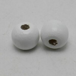 200pcs Round Wood Beads 10mm White Wooden Bead Charms Jewelry Making Supplies