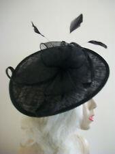 NEW Black Fascinator Wedding Saucer Hat Formal Ladies Womens Hatinator Disc