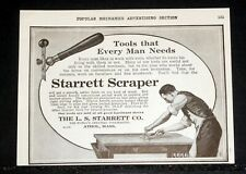 1915 OLD MAGAZINE PRINT AD, THE STARRETT SCRAPER, TOOLS THAT EVERY MAN NEEDS!
