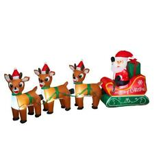 """NEW 96"""" Electric Lighted Santa and Reindeer Outdoor Christmas Decor 2493370"""