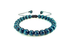 Men's shamballa beaded bracelet cuff wristband BLUE WOODEN mala yoga beads