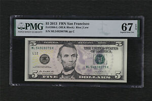 2013 FRN San Francisco 5 Dollars Fr#1996-L PMG 67 EPQ Superb Gem UNC