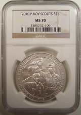 2010-P $1 BOY SCOUTS UNC. SILVER DOLLAR NGC MS 70 GEM