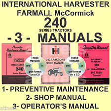 IH International 240 Tractor Shop, Maintenance, Owners MANUAL -3- MANUALS Set CD