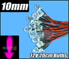 100pcs x pink 10mm Round LED Pre Wired Lights 12V 20cm Bulbs Lamp Pink