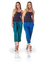 Ladies Cropped Linen Capri Women Summer Plain Pockets 3/4 Pants Trousers