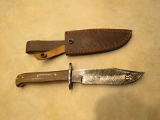 Large Damascus Bowie knife w brown Micarta handles & leather sheath