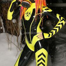 New 100% Latex Rubber Yellow with Black All-body Suit Bodysuit Catsuit XXS-XXL