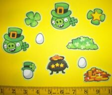 New! Angry Birds St Patrick's Day Shamrocks Iron-on Fabric Appliques ~ Iron ons
