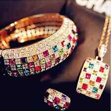 Luxury Women Girl Colourful Rhinestone Crystal Finger Dazzling Ring Jewelry v