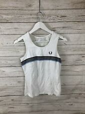 FRED PERRY Retro Top-Tamaño UK10-Blanco-Excelente Estado-Para Mujer
