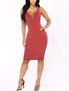 New Chic Marsala Red Lurex Dress size M 10