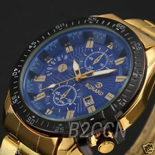 Men's Luxury Dial Gold Stainless Steel Date Quartz Sport Wrist Watch Analog Lot