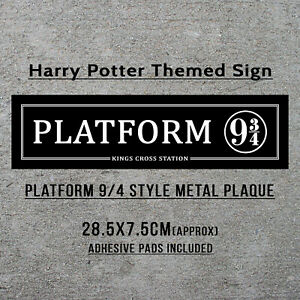 Platform 9 3/4 Sign Harry Potter Hogwarts Train Station Gift Metal Plaque