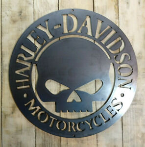 LARGE * Harley Davidson Willie G Metal Sign Hand Finished Motor Cycle Skull *
