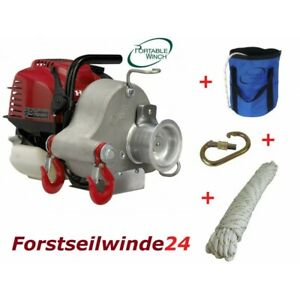 Set Forstseilwinde PCW 3000 / Benzin Seilwinde / Spillwinde