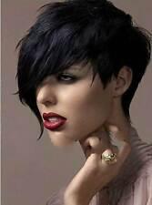 Womens Heat Resistant Black Short Straight Cosplay Full Hair Wig Cool Hair Piece