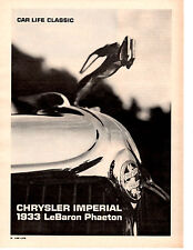 1933 CHRYSLER IMPERIAL LeBARON PHAETON  ~  ORIGINAL 3-PAGE 1967 ARTICLE