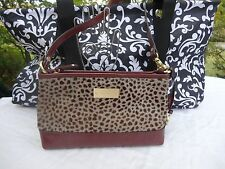 Authentic Brahmin Anytime Mini Purse Shoulder Bag Crabberry Hair On