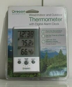 Oregon Scientific Wired Indoor Outdoor Thermometer & Digital Alarm Clock THT312