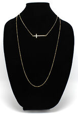 New Gold Tone Double Stranded Sideways Cross Necklace nwt #N2357A