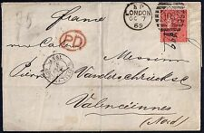 Uk Gb 1869 London To Valenciennes France Franked Sg 94 Plate Ii W/ Pd Marking In