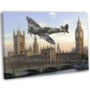 RAF WW2 Spitfire London Big Ben Canvas Print Framed Digital Painting Art Picture