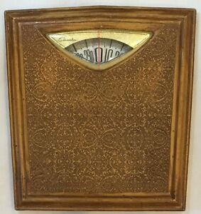 Vintage Brown Floral Vines COUNSELOR Bathroom Weight Scale EXCELLENT CONDITION