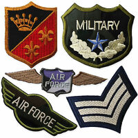 Vintage Military Badges Air Force Army Iron Sew on Appliques Patches Embroidered