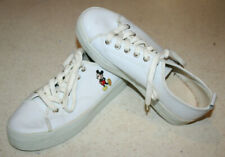 Disney Mickey Mouse white leather lace up tennis shoes sneakers womens size 9